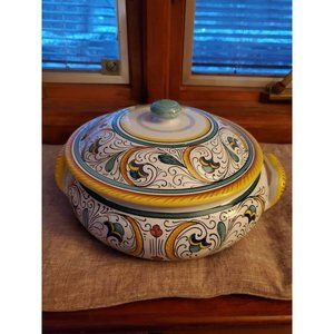 Ceramica 1990 Italy Hand Painted Majolica Pot/Bowl